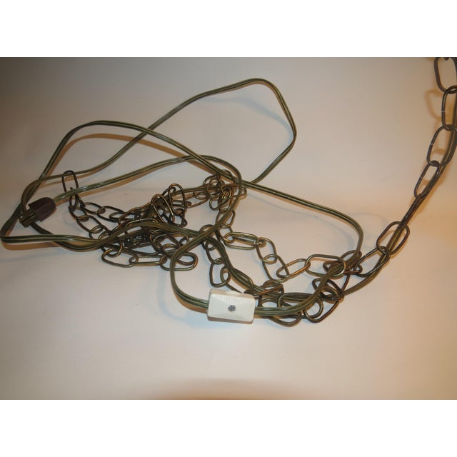 Art Glass Vintage Italian Art Glass Rewired Retro Boho Gold Crakle Hanging Light For Sale - Image 7 of 9