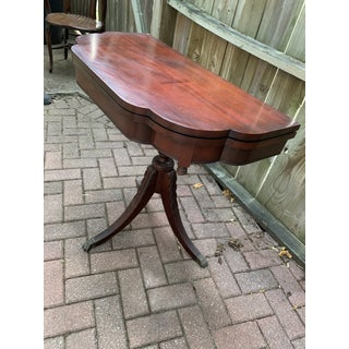 Vintage Queen Anne Polished Wood Drop Leaf Game or Center Table Preview