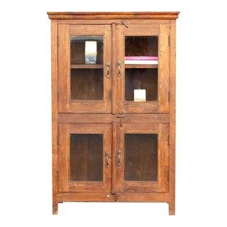 Mid Century Teak Glass Cabinet For Sale