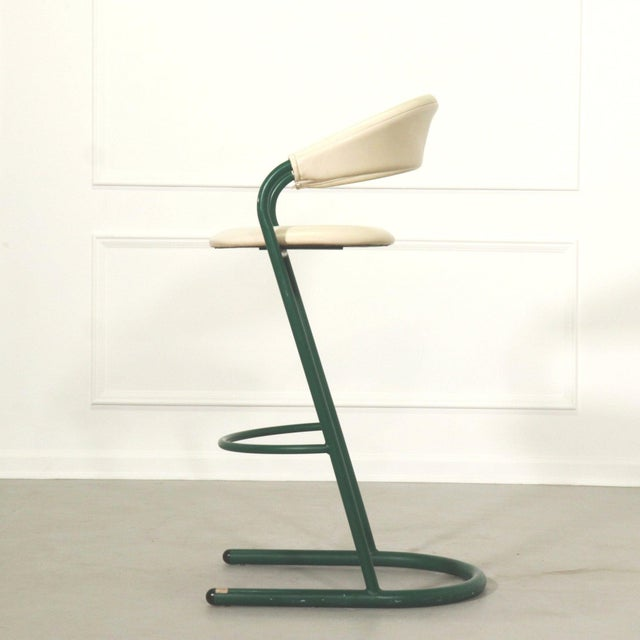 Mid-Century Modern Green Cantilever Tubular Bar Stools - Pair For Sale - Image 3 of 8