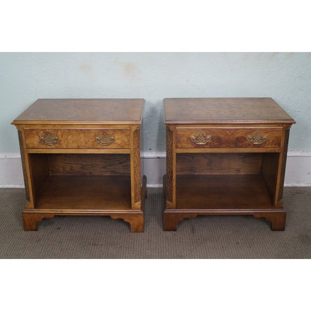 Baker Burl Walnut Chippendale Style Nightstands - A Pair - Image 2 of 10