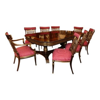 Ej Victor Traditional Mahogany Dining Room Set - Table Plus 8 Chairs For Sale