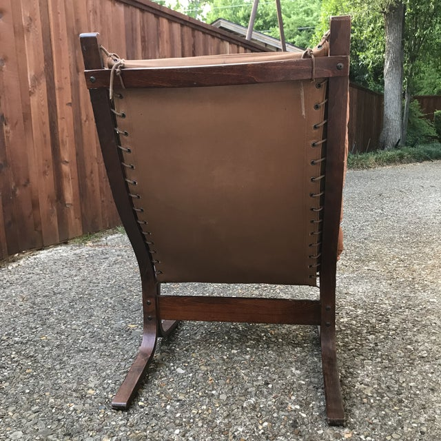 1960s Danish Modern Ingmar Relling for Westnofa Leather Sling Chair For Sale - Image 9 of 10