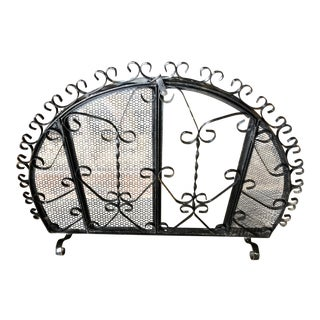 Antique Spanish Revival Hand-Wrought Freestanding Black Arched Iron Fireplace Screen With Working Doors For Sale