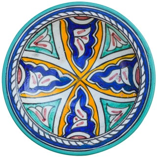 Ceramic Plate W/ Afro-Moresque Design For Sale