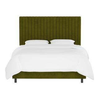 Queen Bed , Velvet Applegreen For Sale