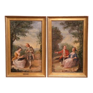18th Century Louis XV Framed Oil on Canvas Paintings by La Pioline - A Pair For Sale