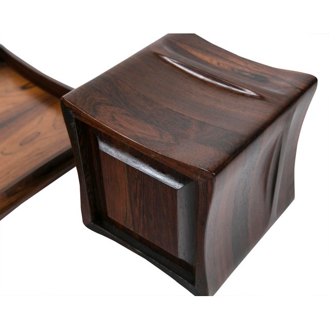 Rare Rosewood Ice Bucket and Tray by Jenns Quistgaard, Scandinavian Modern Circa 1970 For Sale - Image 4 of 8