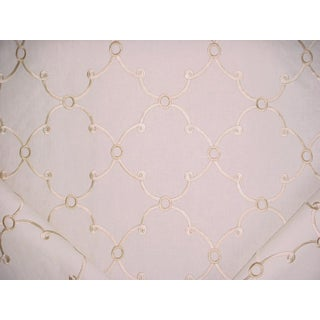 Kravet Couture Chloe Embroidered Linen Chablis Upholstery Fabric- 12 1/4 Yards For Sale