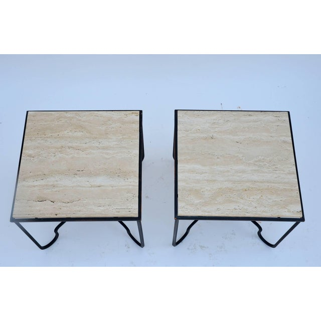 "Contemporary Design Frères Wrought Iron and Travertine ""Entretoise"" Side Tables - a Pair For Sale In Los Angeles - Image 6 of 10"