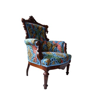 19t Century Victorian Carved Walnut and Button Upholstered Armchair