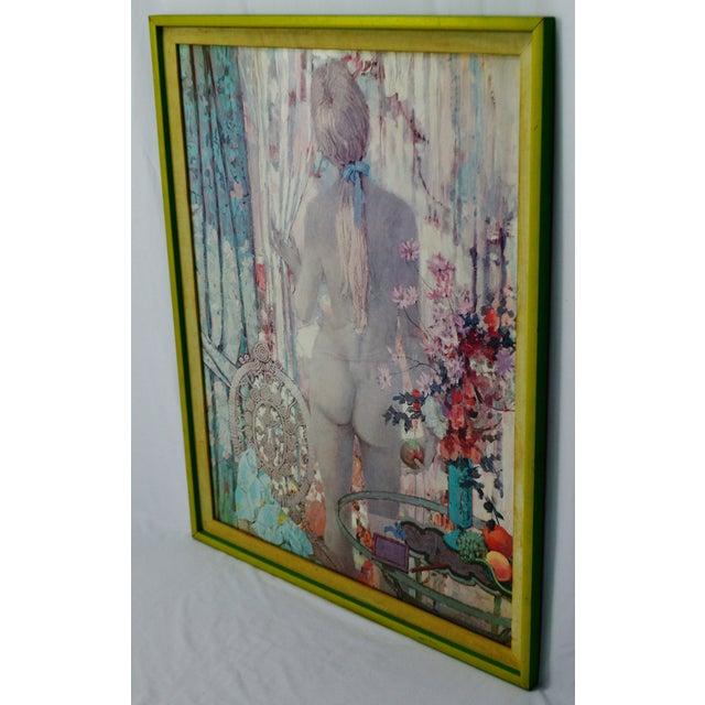 "Vintage Framed Alexander Sharpe Ross Print of Watercolor Titled ""Blue Ribbon"" - Rare For Sale In Philadelphia - Image 6 of 11"