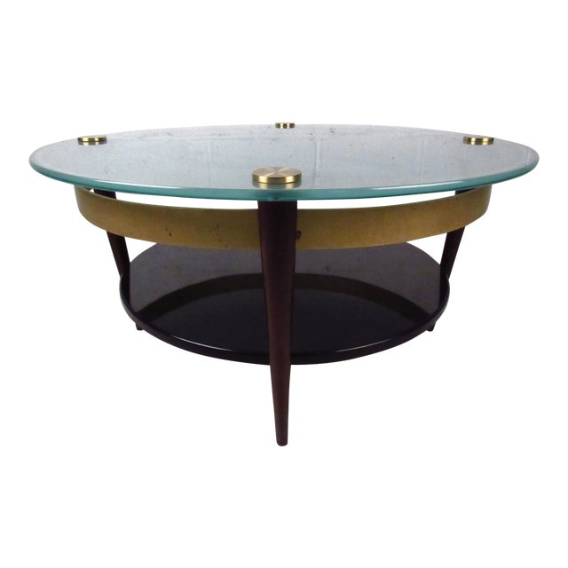 Mid-Century Floating-Top Glass & Brass Coffee Table - Image 1 of 9