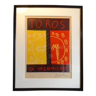 Picasso Offset Color Lithograph Poster- Toros en Vallauris 1955 For Sale