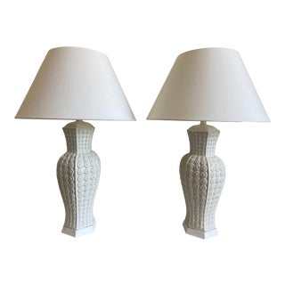 1950s Italian Daisy Urn Lamps & Shades - a Pair For Sale
