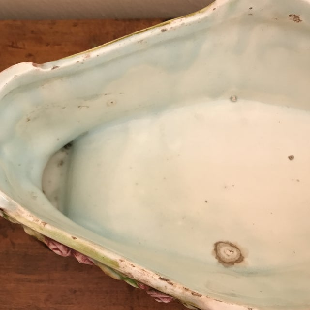 Early 20th Century Floral Majolica Low Centerpiece Bowl For Sale - Image 5 of 13