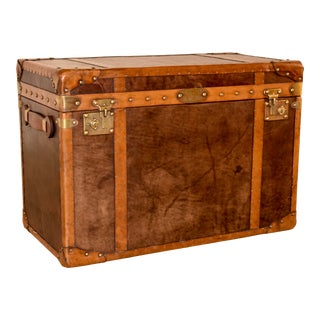 20th C. Refurbished Leather Steamer Trunk For Sale
