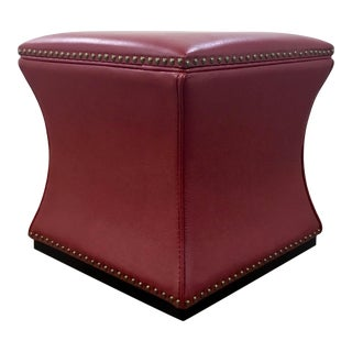 Modern Red Leather Cube Storage Ottoman For Sale