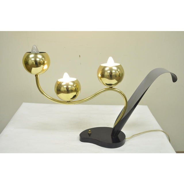Vintage Mid Century Modern Floral 3 Brass Ball Orb Tulip Desk Table Lamp Laurel For Sale In Philadelphia - Image 6 of 9