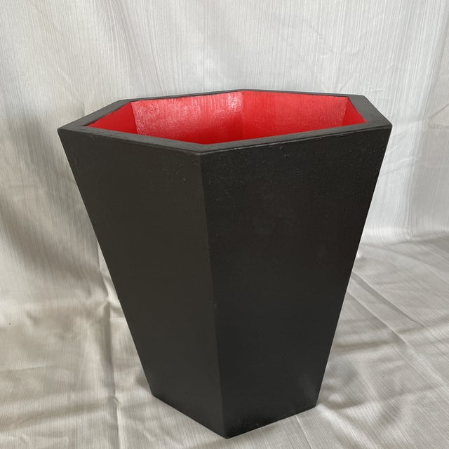 Japanese Modern Black With Red Interior Hexagonal Wooden Waste Basket Rubbish Bin by Irwin and Lane For Sale - Image 3 of 3