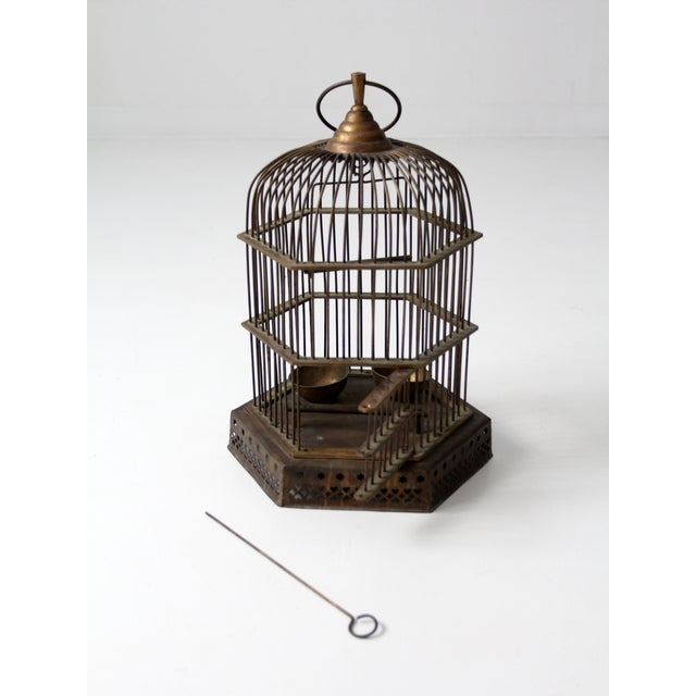 Antique Brass Bird Cage For Sale - Image 5 of 7