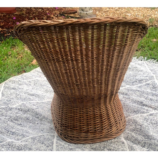 1970s Vintage Wicker Chair For Sale - Image 4 of 5