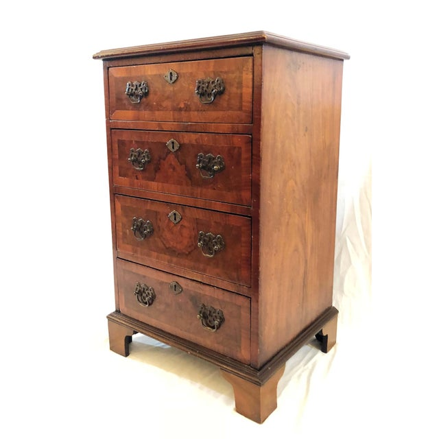 English Traditional Antique English Walnut Small Chest of Drawers, Circa 1900-1910. For Sale - Image 3 of 5