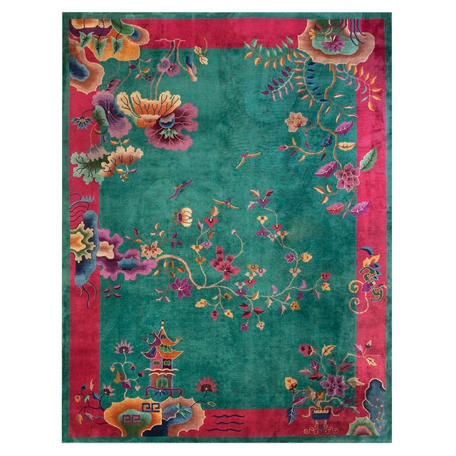 "1920s Antique Art Deco Chinese Rug 9'2"" X 11'8"" For Sale In New York - Image 6 of 6"