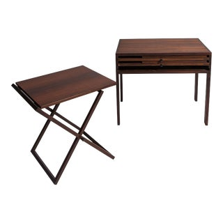 Illum Wikkelso Rosewood Side Table with 3 Folding Tables For Sale