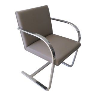 Modern Brueton Leather and Stainless Steel Brno Chair For Sale