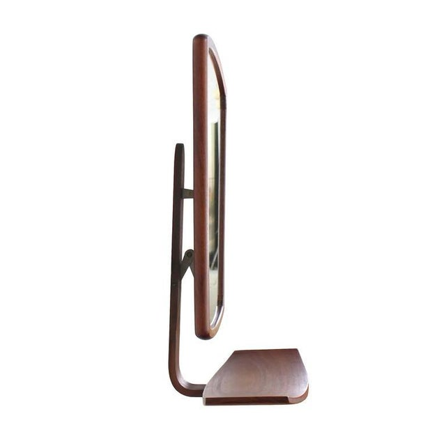 Danish Mid-Century Modern Adjustable Wall Mirror with Shelf For Sale In New York - Image 6 of 9