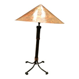Copper and Cast Iron Lamp For Sale