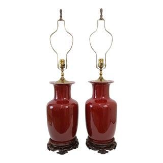 Vintage Sang De Boeuf Porcelain Lamps - a Pair