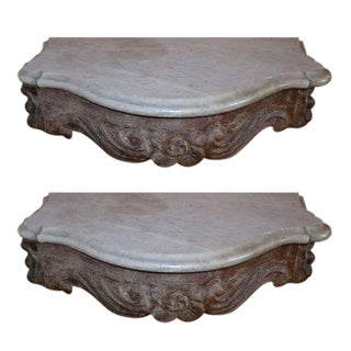 Marble Topped Wall Consoles - Pair For Sale