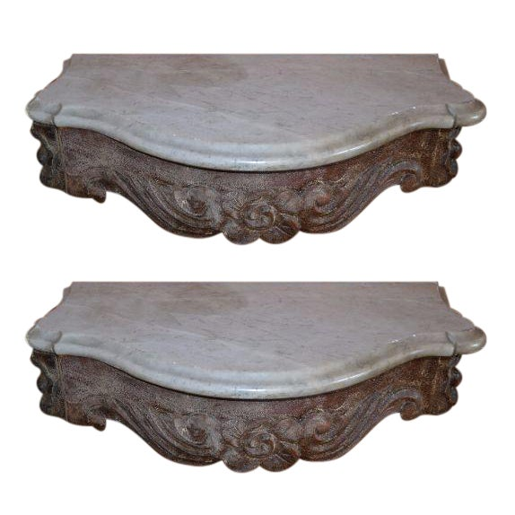 Marble Topped Wall Consoles - Pair - Image 1 of 6