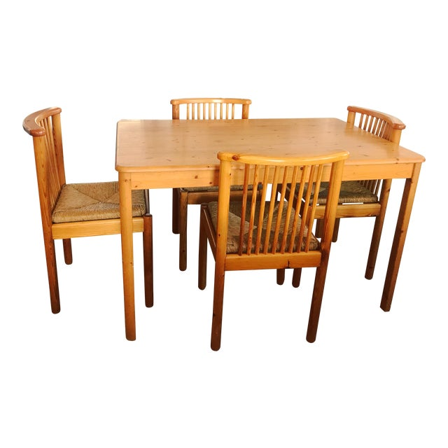 1960s Vintage Dining Table & 4 Pine Spindle Back and Rush Chairs - 5 Pieces For Sale