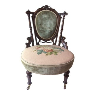 19th Century Victorian Velvet Accent Chair