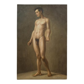 Oil on Canvas Nude Portrait of Standing Male by Richard Biset C.1980 For Sale