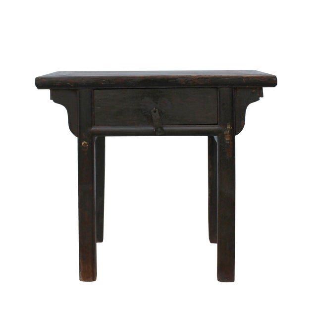 Chinese Iron Hardware Drawer Distressed Brown Side Table For Sale