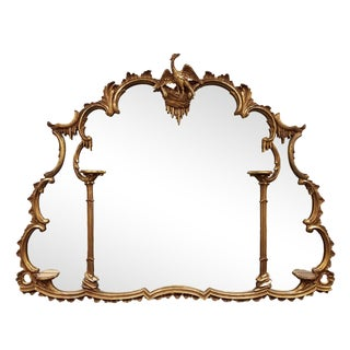 1900s Vintage English Georgian Baroque Style Carved Gilt Wood Mirror For Sale