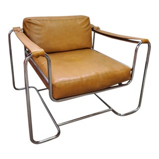 Mid Century Modern Selig Chrome and Vinyl Buckle Strap Lounge Chair For Sale