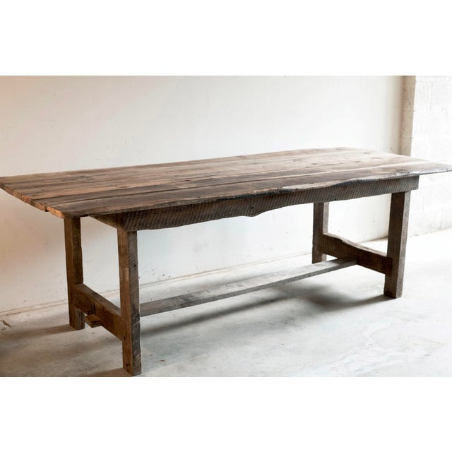 Custom French Farmhouse Dining Table of Reclaimed Barn Wood. For Sale - Image 10 of 10