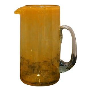 Vintage Blenko Tangerine Orange Blown Glass 2 Quarts Pitcher For Sale