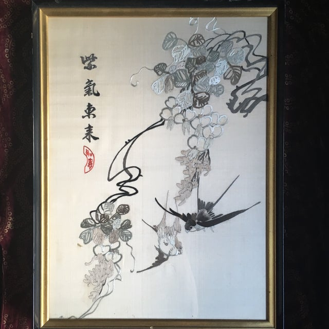 Vintage Framed Chinese Silk Embroidery - Image 2 of 11