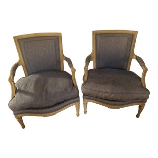 1920s French Louis XV Style Fauteuils Open Arm Chairs - a Pair