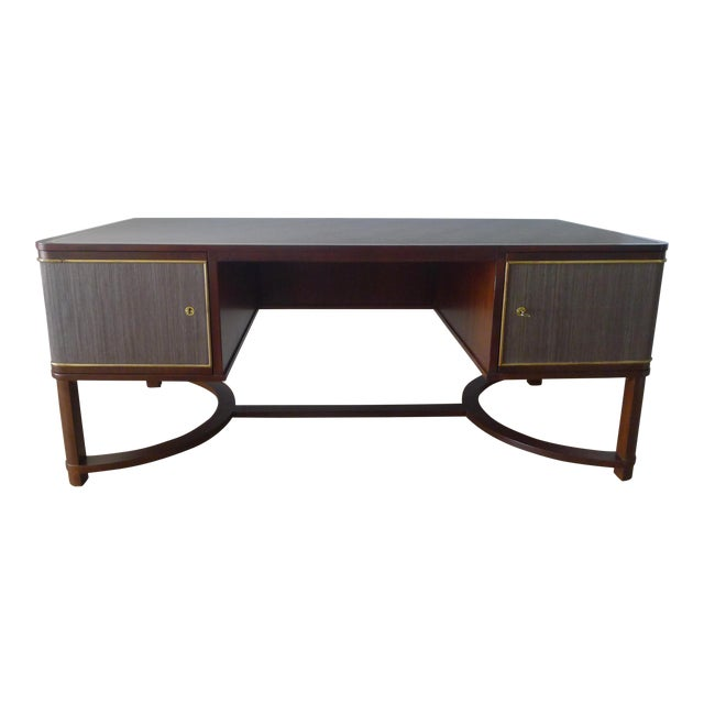 Restored Expansive Modern French Art Deco Executive Desk - Image 1 of 13
