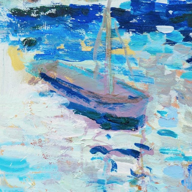 """Signed upper right """"Canete"""" and painted in 2015. MEDIUM: Oil,Board A lyrical, oil seascape showing a small sailing dinghy..."""