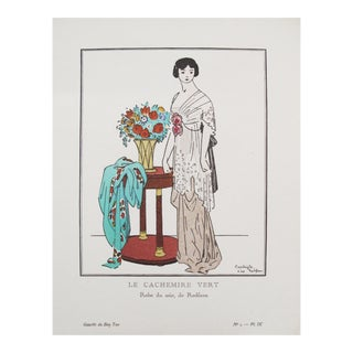 1912 Gazette du Bon Ton Fashion Plate, Cachemire Vert For Sale