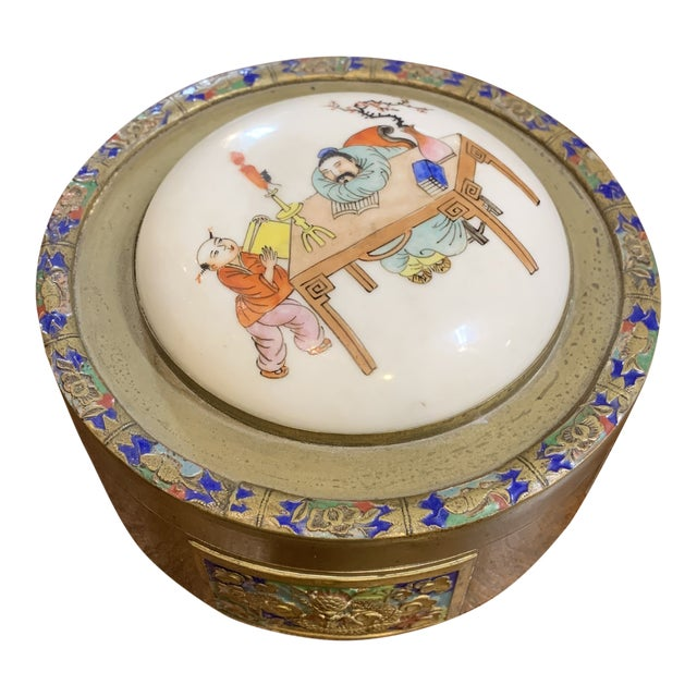 Antique Chinese Brass and Enamel Box With Porcelain Top. For Sale