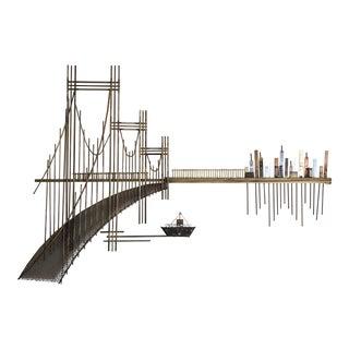 Mid Century Bridge Cityscape Metal Wall Sculpture For Sale